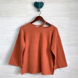 Zara Orange Cutout Neck Wide 3/4 Sleeve Top